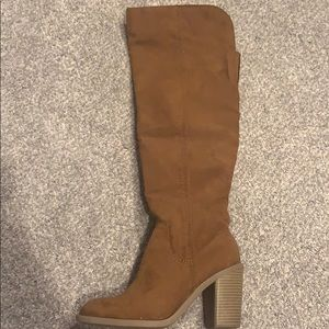 Over the knee brown heeled boots